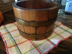 Antique Vintage Small Wood Brown Pail Bucket $30.00