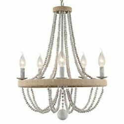 French Country Chandelier for Dinning Room Wooden Bead Tassel Farmhouse Chand... $326.20