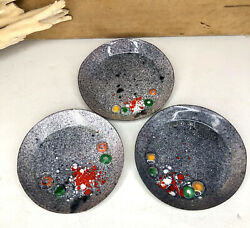 Vintage Mid Century Enamel On Copper 3 Pc Abstract Coaster Dish Set 3.25quot; $29.95