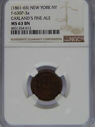 1861 65 F 630P 3a Carland#x27;s Fine Ale NGC MS 63 BN R 6 $175.00