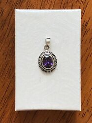 925 Sterling Silver Oval Amethyst Bali Pendant for necklace 14mm $24.95