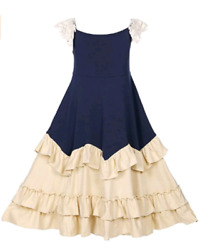 Girls pink sling lace flying sleeve cotton party dress $19.66