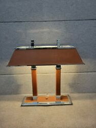 Ralph Lauren Home Collection Two Column Leather amp; Chrome Desk Table Lamp $799.00