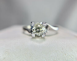 Art Deco 18k White Gold Natural Old Mine Cut Diamond Solitaire Engagement Ring $899.00