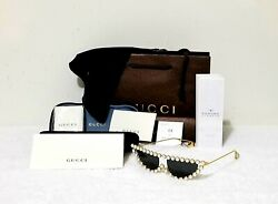 GUCCI HOLLYWOOD FOREVER COLLECTION Pearl Gold Cat Eye Sunglasses GG0364S 004 $499.00