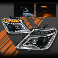 Black DRL HID Xenon Sequential Indicator Head Lights for Nissan Patrol Y62 12-18