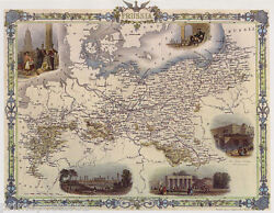 1800#x27;S MAP BIRD EYE VIEW PRUSSIA BERLIN ROYAL FREDERICK VINTAGE POSTER REPRO $19.75