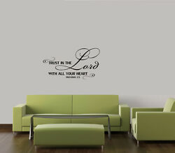 TRUST IN THE LORD WITH ALL YOUR HEART VINYL WALL DECAL HOME WALL LETTERING QUOTE $8.50