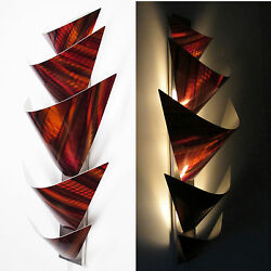 Modern Abstract Metal Wall Art Torchiere Lamp Painting Sculpture Decor Orange $175.00