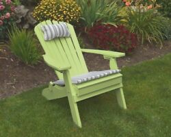 Poly Lumber Wood FOLDING & RECLINING Adirondack Chair *TROPICAL LIME GREEN*