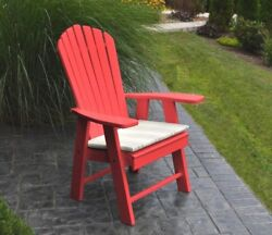 Poly UPRIGHT ADIRONDACK Chair *OFFERED IN BRIGHT RED COLOR* Made in USA