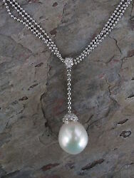 14KT White Gold Paspaley South Sea Pearl Pave Diamond Pendant Necklace Lariat