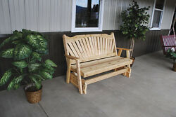 Outdoor Cedar 6 Foot Fanback Porch Glider *8 STAIN COLORS* 6 Ft Glider
