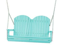 Poly Furniture Wood 4 Foot Outdoor Adirondack Swing *ARUBA BLUE COLOR* 4 Ft