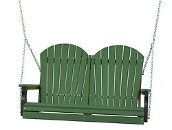 Poly Furniture Wood 4 Foot Outdoor Adirondack Swing *GREEN AND BLACK* 4 Ft Swing