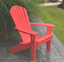 *Poly Furniture Wood* Fanback Adirondack Chair *BRIGHT RED COLOR* Amish Made USA