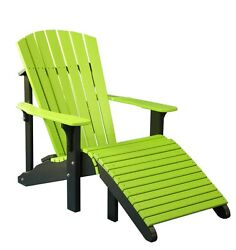 Outdoor Poly Deluxe Adirondack Chair & Footrest *MULTIPLE COLORS* Amish Made