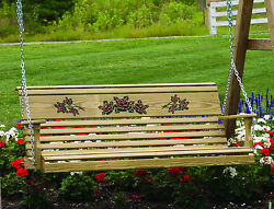 Outdoor Treated Yellow Pine 5 Foot Rollback Roses Design Porch Swing 5 ft Swing