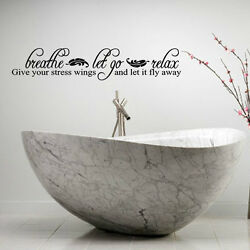 BREATHE LET GO RELAX LETTERING BATH WORDS BATHROOM VINYL DECOR DECAL WALL KIDS $9.45