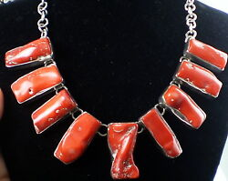 ESTATE HUGE STERLING SILVER & NATURAL RED BRANCH CORAL TOGGLE  CLASP NECKLACE