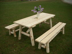 Rustic White Cedar Log 6 Foot Picnic Table with Detached Benches -Amish Made USA