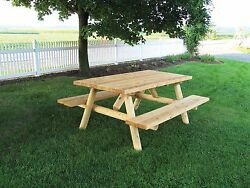 Rustic White Cedar Log 8 Foot Picnic Table with Attached Benches- Amish Made USA