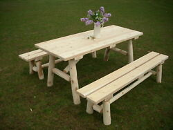 Rustic White Cedar Log 8 Foot Picnic Table with Detached Benches -Amish Made USA