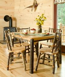 *HICKORY or HICKORY & OAK* Rustic Dining Room Set- Table & 4 Chairs- Amish Made
