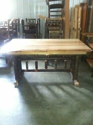 Hickory  Hickory & Oak Rustic Trestle Dining Table - 60