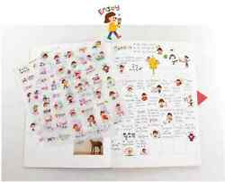 #05 Cute simple life cartoon pvc kids stickers notebook diary decoration 6sheets $2.99