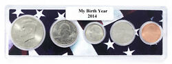 2014 Birth Year Coin Set in American Flag Holder - 5 Coin Set