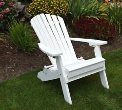 *Poly Furniture Wood* Folding and Reclining Adirondack Chair *WHITE COLOR*