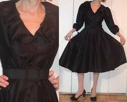 NWOT BELTED LITTLE BLACK DRESS XS ROCKABILLY RUFFLED NECKLINE PUFFED SLEEVES XS $69.99