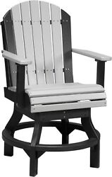 Set of 2 Outdoor Poly Lumber Adirondack Swivel Chairs in Counter Height