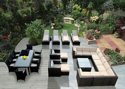 Beautiful Outdoor Patio Wicker Furniture 29 pc Sofa Dining & Lounge Set