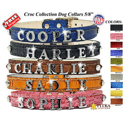Rhinestone Leather Dog Collars Personalized Custom made Small Leather Collars $25.00