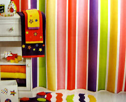 FABRIC - Little Miss Matched - Super Stripe Bright Colors SHOWER CURTAIN