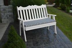 Outdoor Poly 5 Foot ROYAL ENGLISH GARDEN BENCH *BRIGHT WHITE* Made in USA