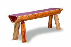 Rustic Red Cedar Log  HALF LOG BENCH - 8 FT LONG - Amish Made in USA