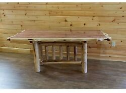 Rustic Red Cedar Log TRESTLE DINING TABLE - Amish Made in USA