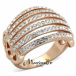 ROSE GOLD PLATED STAINLESS STEEL 316L CRYSTAL COCKTAIL  FASHION RING SIZE 5-1 0