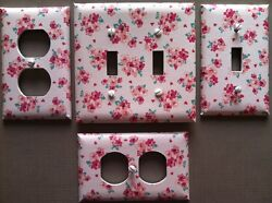 Pink Light Switch Cover Plates Floral Bouquet Flowers Red Country Kitchen Decor $6.99