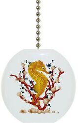 Yellow Seahorse Nautical Solid CERAMIC Ceiling Fan Light Lamp Pull $6.17