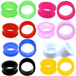 PAIR LARGE FLARE SOFT Silicone Ear Skins Ear Gauges Soft Ear plugs Ear Tunnels $4.99