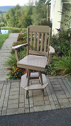 Poly Lumber Wood Traditional Swivel Bar Chair Stool - Amish Made in USA