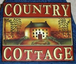 COUNTRY COTTAGE Rustic Cabin Wood Wall Sign Plaque 9 3 4quot; x 8 1 2quot; Country Decor $6.99