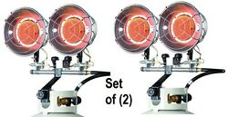 (2) ea Mr Heater F242650 8000-30000 Btu 2 Burner LP Propane Tank Top Heaters