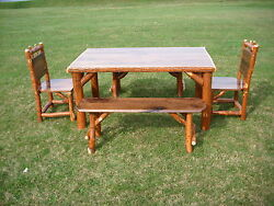 Sassafras Walnut Rustic Log Kitchen Table + 2 Chairs 2 Benches Amish Made USA