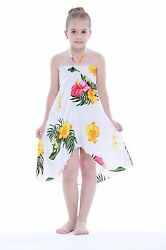 Aloha Butterfly Dress Girl Summer Beach Hawaiian Cruise Luau Floral White