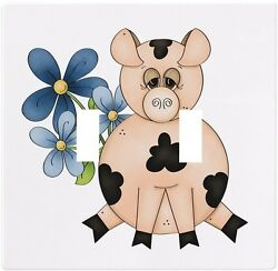 Pig with Flowers Wallplate Wall Plate Decorative Light Switch Plate Cover
